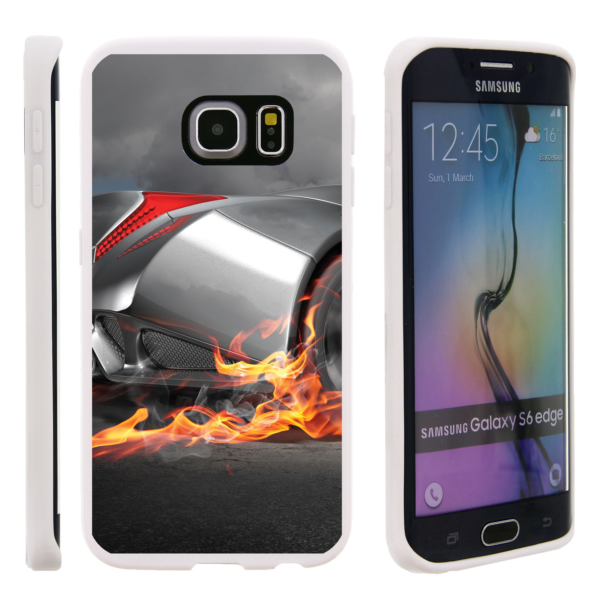 Samsung Galaxy S6 Edge G925, Flexible Case [FLEX FORCE] Slim Durable TPU Sleek Bumper with Unique Designs - Car with Flames