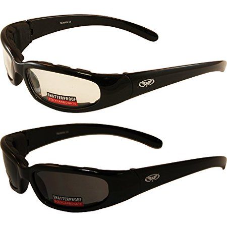 fc19f2a357399 2 Black Frame Motorcycle Riding Glasses Sunglasses Day and Night Smoke Clear  Lens - Walmart.com