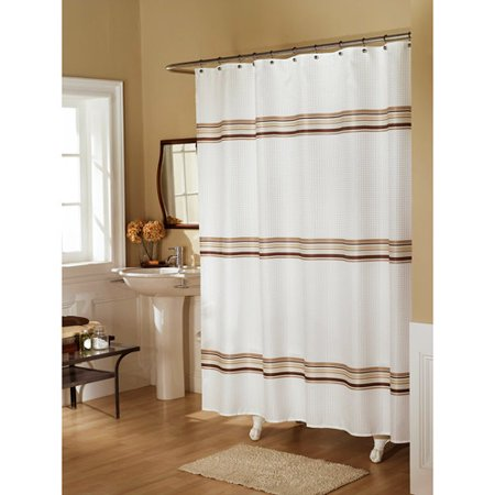 Ex Cell Home Fashions Sierra Stripe Fabric Shower Curtain Tan