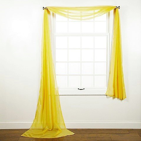 "1 PC SOLID YELLOW SCARF VALANCE SOFT SHEER VOILE WINDOW PANEL CURTAIN 216"" LONG TOPPER SWAG"