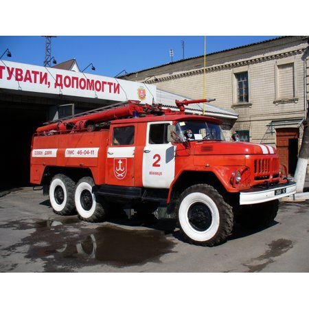 Canvas Print Fire engine (fire bluster tank truck) AC-40 on ZiL-131 chassis. Ukraine, Vinnitsa. Stretched Canvas 10 x 14