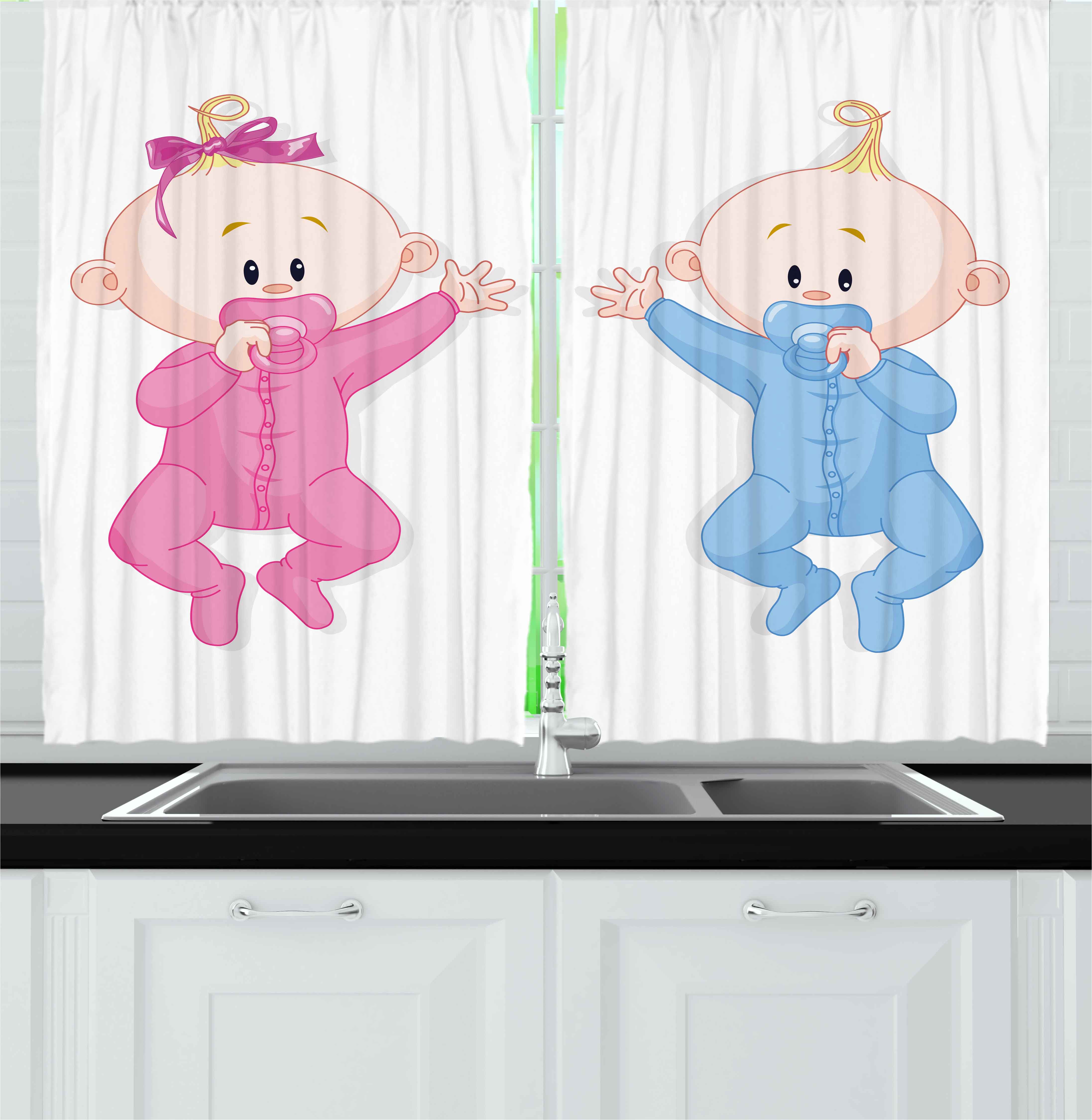 Gender Reveal Curtains 2 Panels Set, Babies Lie and Keep the Pacifiers Lovely Toddlers Sweet Childhood, Window Drapes for Living Room Bedroom, 55W X 39L Inches, Pink Blue and Peach, by Ambesonne