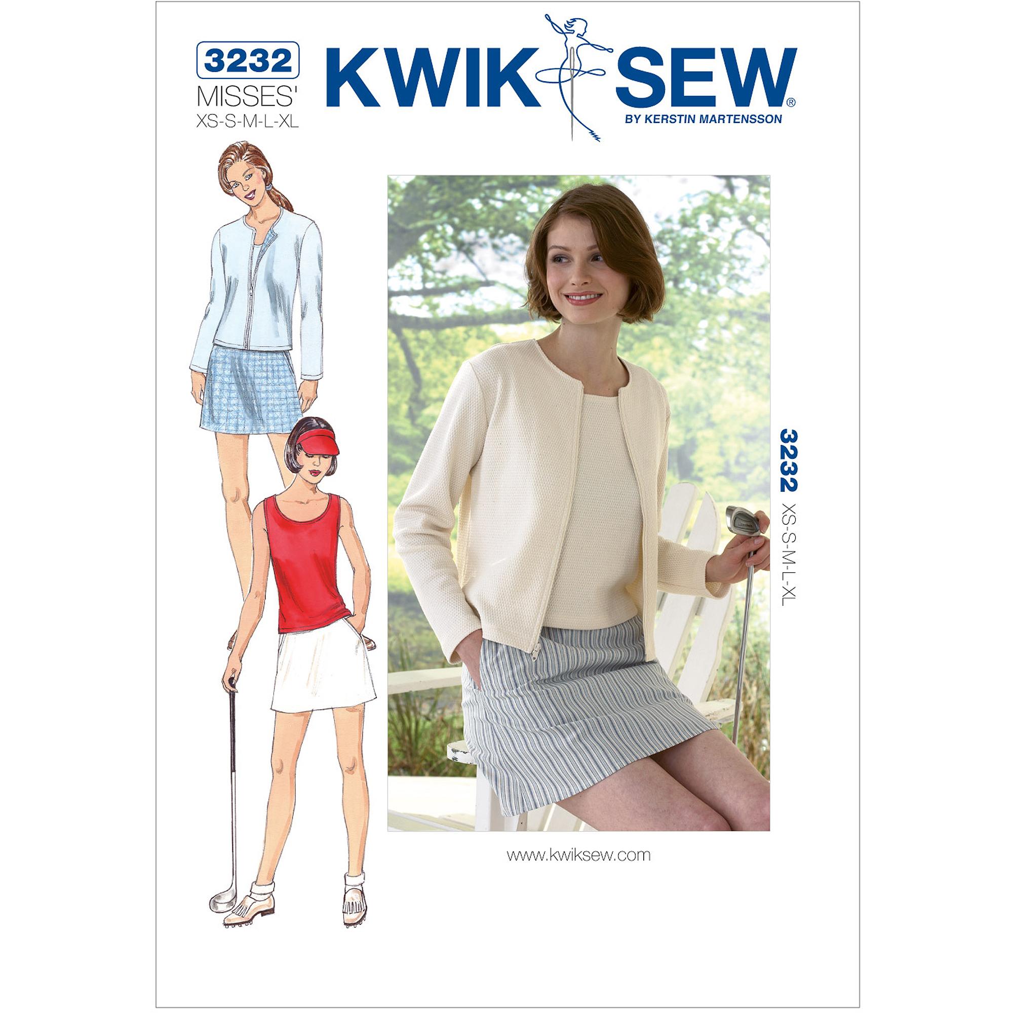 Kwik Sew Pattern Skort, Top and Cardigan, (XS, S, M, L, XL)