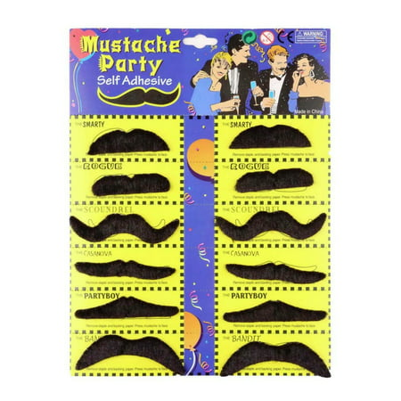 12 Fake Mustaches Self Adhesive Party Pack Moustaches Costume Sheet Halloween - Halloween Fake Body Parts