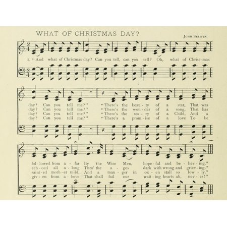 What of Christmas Day Christmas in Song 1891 Stretched Canvas -  (24 x 36) ()