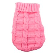 Pet Dog Woolen knitted Winter Warm Sweater Coat Clothes Apparel Costume Pink S