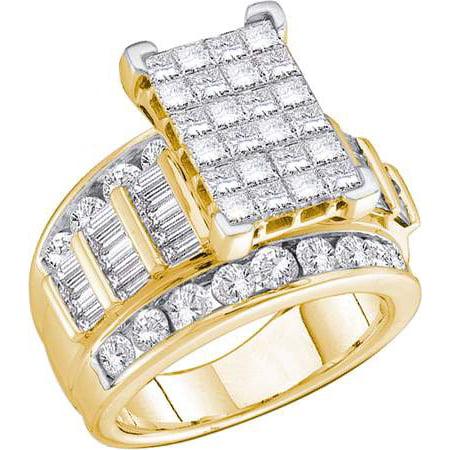 10K Yellow Gold 1.00ctw Elegant Invisible Diamond Ladies Princess Fashion Ring