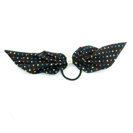Unique Bargains Women Bubble Pattern Bowtie Chiffon Accent Hair Tie Rubber  Band Black