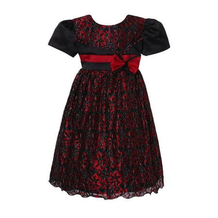 Little Girls Red Black Flower Bow Adorned Sweet Party Dress 3](Sweet Dresses For Girls)