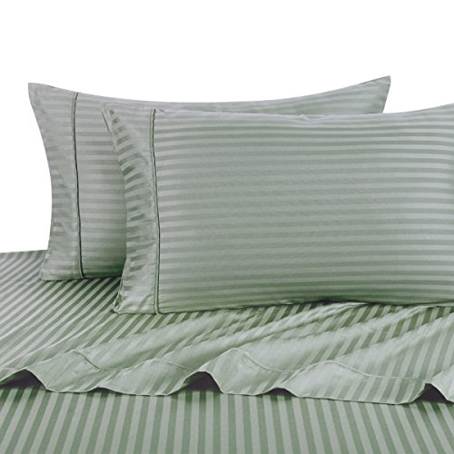 Sheetsnthings 100% Cotton, Bed Sheet Set - 600TC, Full Sage Stripes - Soft, Deep Pocket, 4PC Sheets