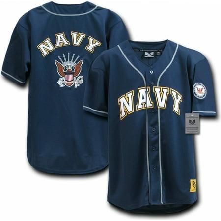 RapDom US Navy Logo Mens Baseball Jersey [Navy Blue - (Navy Blue Jersey)