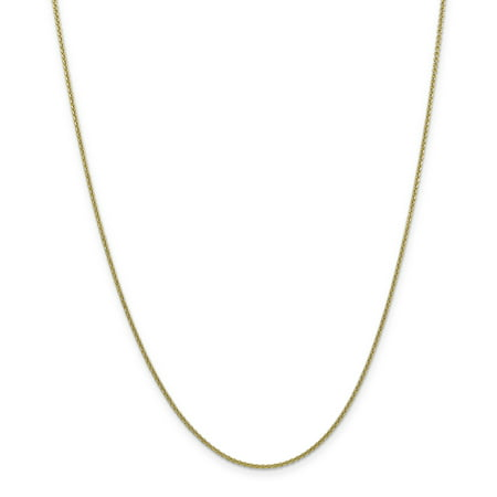 (10k Yellow Gold 1.5mm Link Cable Necklace Chain Pendant Charm Round Fine Jewelry For Women Gift Set)