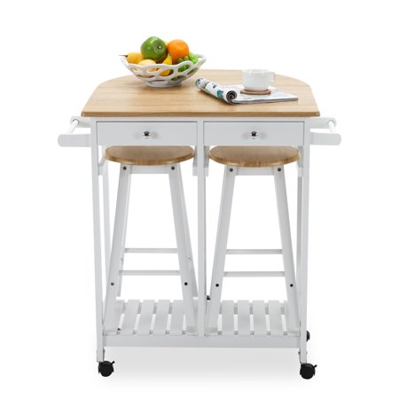 Uenjoy Oak Kitchen Island Cart Trolley Storage Dining