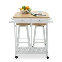 Uenjoy Oak Kitchen Island Cart Trolley Storage Dining Table 2 Bar Stools 2 Drawers