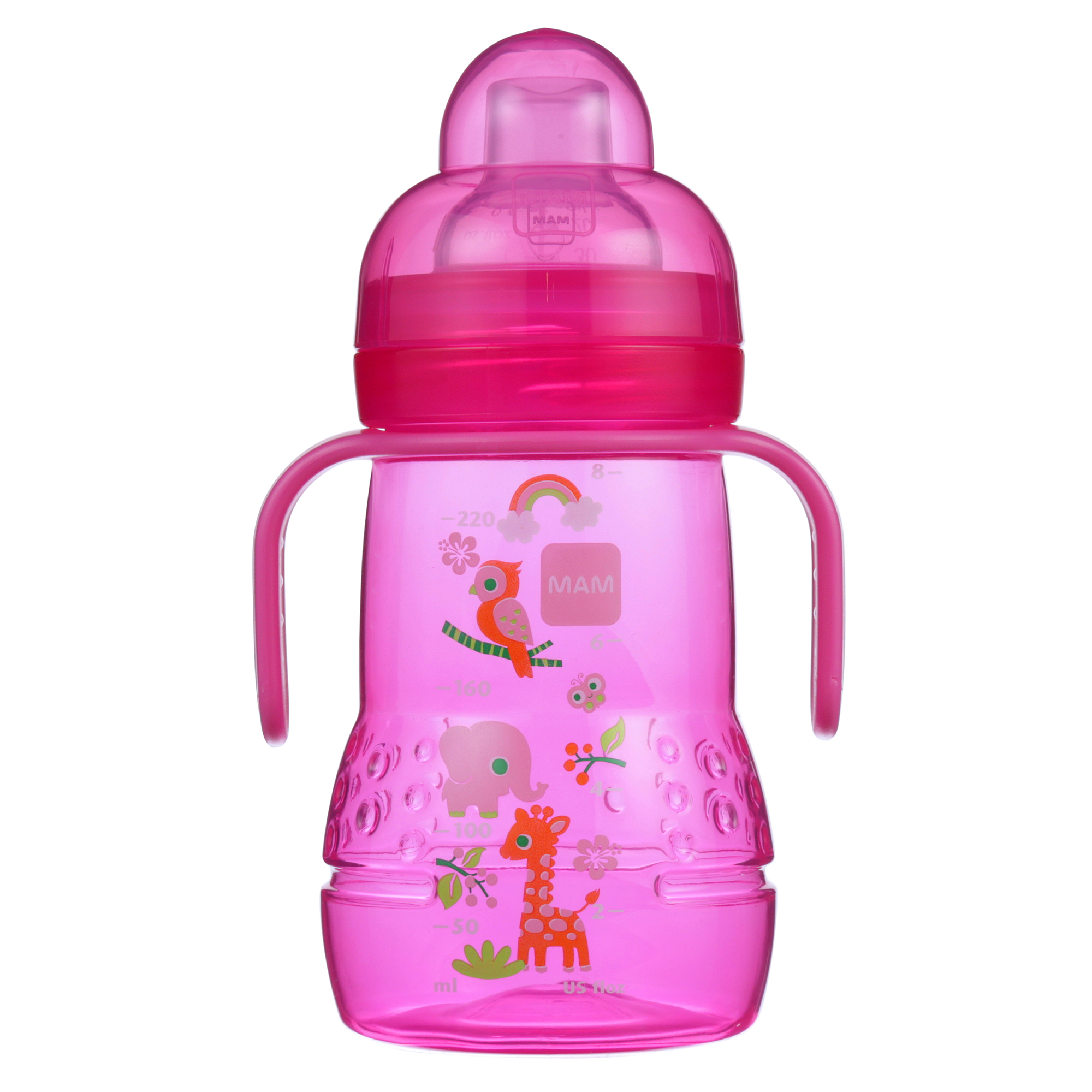 MAM Trainer Cup with nipple and extra soft spout, 8 oz, 1-Count, Girl