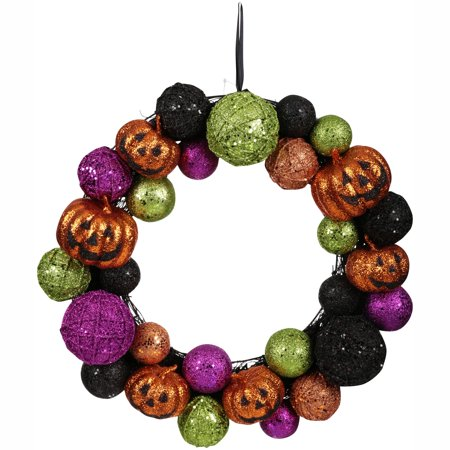 Halloween Knit Ball Jack O Lantern Pumpkin Wreath
