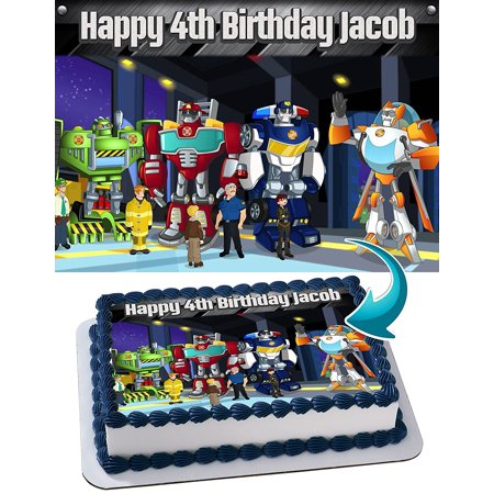 Transformer Rescue Bots Edible Cake Image Personalized Toppers Icing Sugar Paper A4 Sheet Edible Frosting Photo Cake Topper 1/4 - Transformer Cakes
