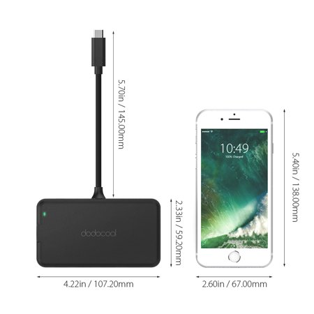 dodocool 6-in-1 Multifunction USB-C Hub with Type-C Power Delivery 4K Video HD Output Port Gigabit Ethernet Adapter and 3 SuperSpeed USB 3.0 Ports for MacBook/MacBook Pro/ Chromebook Pixel and More Bl - image 3 of 7