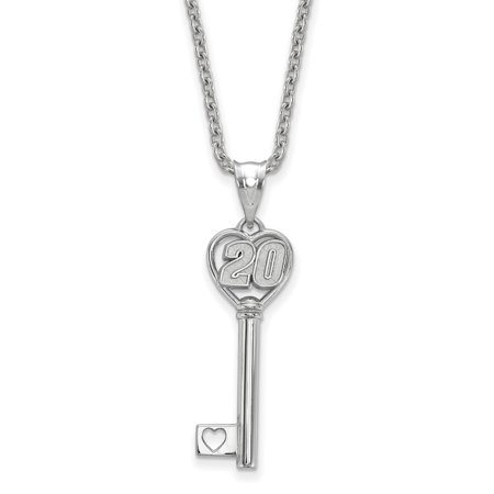- Roy Rose Jewelry Sterling Silver LogoArt NASCAR Heart Key 1'' Pendant Driver # 20 ~ 18'' Silver LogoArt Chain Necklace