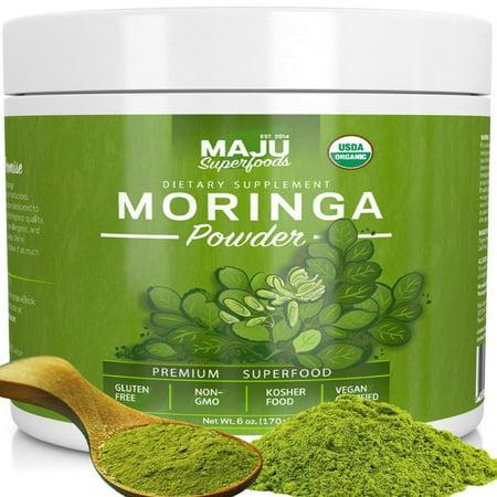 MAJU's Organic Moringa Powder: Pure, Non-GMO, Best