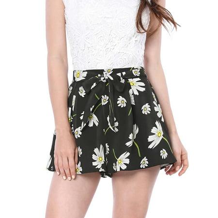 Women's Floral Print Elastic Tie Waist Beach Summer Shorts Brown Genuine Shorts