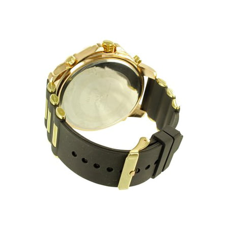 Gold Finish Mens Black Leather Band Fully Iced Out Lab Created Cubic Zirconia Techno Pave Watch