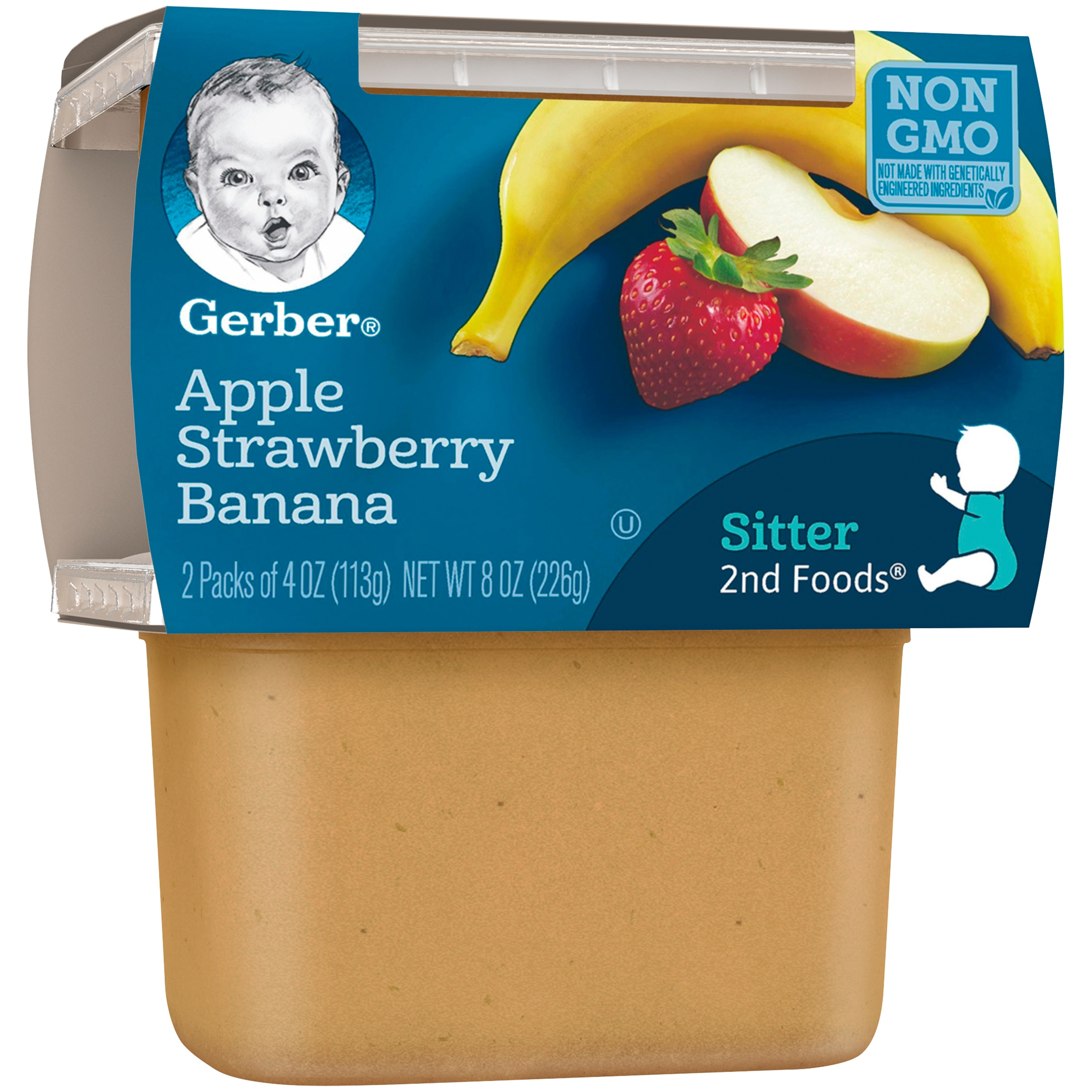 <mark>Gerber</mark> 2nd <mark><mark>Food</mark>s</mark> Apple Strawberry Banana <mark>Baby</mark> <mark>Food</mark>, 4 oz Tubs, 2 Count (Pack of 8)