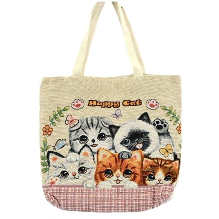 Kitten Cat Purse - Happy Cat Cute Kittens Oversized Large Canvas Tote Bag Purse -