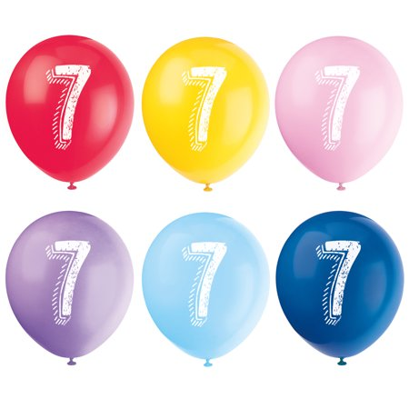 Number 7 Balloon (Latex Chalk Design Number 7 Balloons, Assorted, 12 in,)