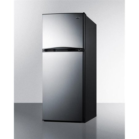 Summit Appliance FF1085SS 24 in. Counter Depth Top-Freezer Refrigerator with Stainless Steel Doors Black