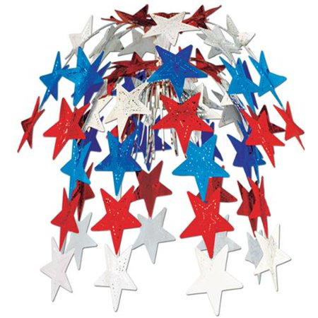 Club Pack of 12 Hanging Patriotic Metallic Red, White and Blue Star Cascade Party Decorations 24
