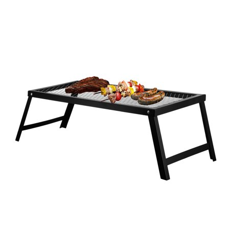 Portable Campfire Grill Stand With Folding Legs, for Use Over Open Fire