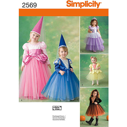 Simplicity Pattern Toddler's and Child's Princess Costumes, (1/2, 1, 2, 3)