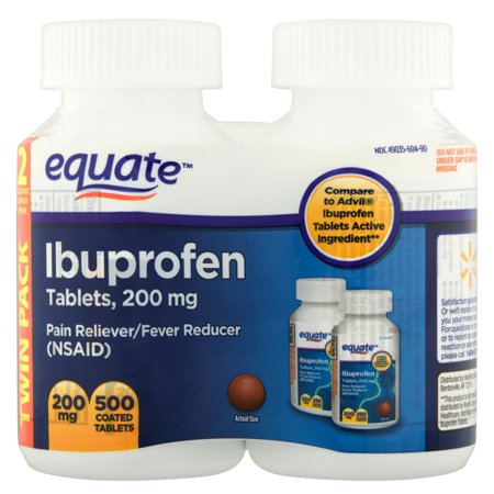 equate Ibuprofen 200mg comprimés, 2X250 count