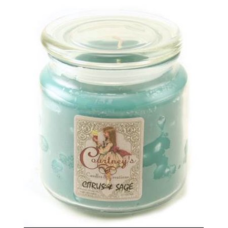 CITRUS SAGE - Courtneys Candles Maximum Scented 16oz Medium Jar Candle - Burns 140 Hours