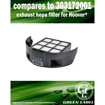 Exhaust HEPA Filter for Hoover Windtunnel T-Series Vacuum Cleaners, model UH70107 (compares to 303172001). Genuine Green Label (Windtunnel Exhaust)
