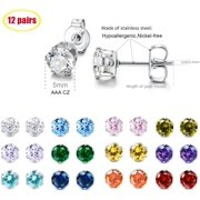 Jicidcha 12 Pairs Stainless Steel Brilliant Cut Round Cubic Zirconia Birthstone Stud Earrings for Women - image 6 of 6
