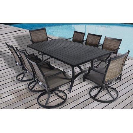 9pc Aluminum and Wicker Swivel Rocking Cushioned Slat Top Patio Dining Set with Umbrella Hole- Black/Grey ()