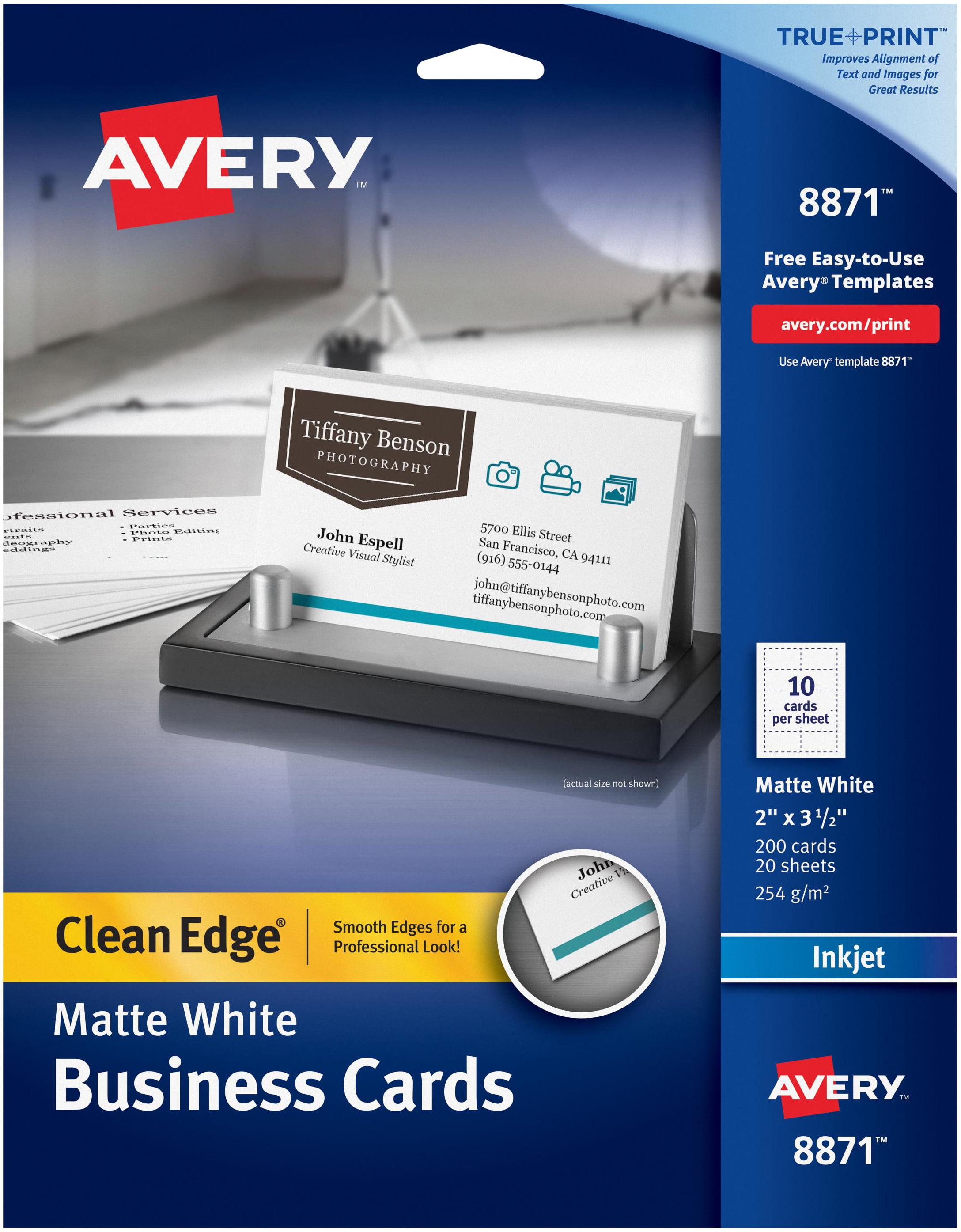 Avery matte white clean edge business cards 2x35 200pkg for avery matte white clean edge business cards 2x35 200pkg for inkjet printers two side printable 8871 colourmoves