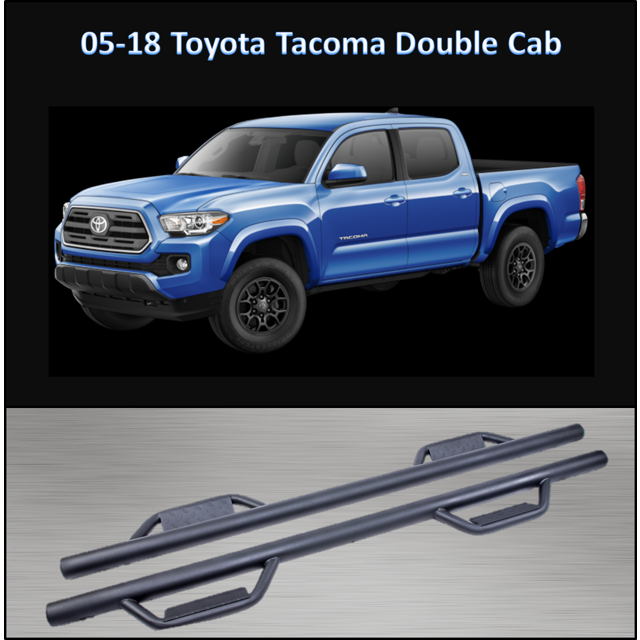 CONEXT Hoop Style Dropped Steps Textured Nerf Bars for 2005-2018 Toyota Tacoma Double Cab 289-TX-69