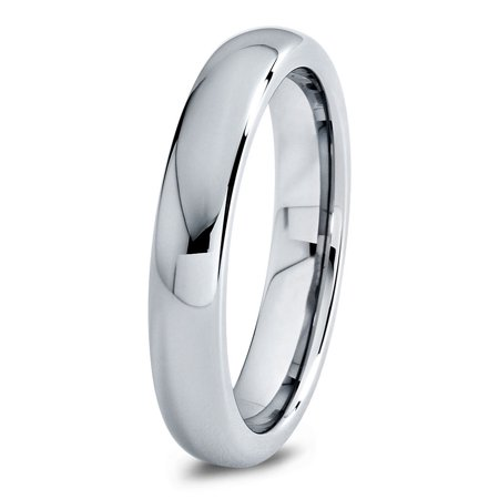 Charming Jewelers Tungsten Wedding Band Ring 4mm for Men Women Comfort Fit Domed Round Polished Lifetime Guarantee ()
