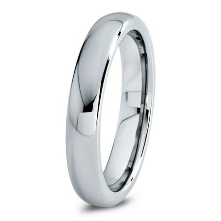 Charming Jewelers Tungsten Wedding Band Ring 4mm for Men Women Comfort Fit Domed Round Polished Lifetime Guarantee Chic Comfort Fit Wedding Ring