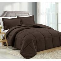Clara Clark Luxury Down Alternative Reversible Comforter Set - Hypoallergenic, Box Stitched - Duvet Insert, Queen - Chocolate