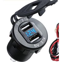 Dual USB 2.1A Charger Socket Waterproof Power Outlet W/ LED Voltmeter Wire In-line 10A Fuse for 12-24V Car Boat Marine Motorcycle 4.2A
