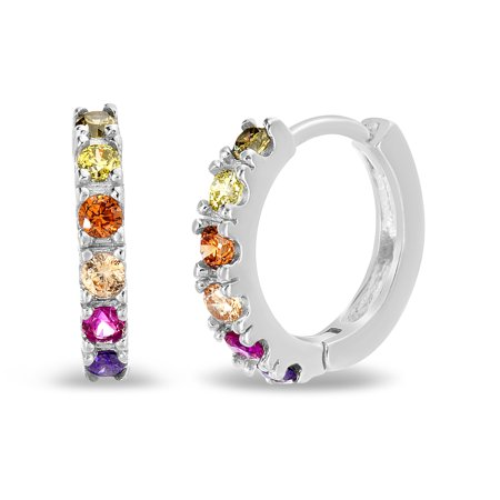 Silver Cat Earring (Lesa Michele Rainbow Cubic Zirconia Oval Huggie Hoop Earring in Sterling Silver)