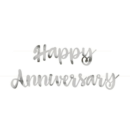 Silver Script Happy Anniversary Banner, 6ft, 2pc (Silver Wedding Anniversary Banners)