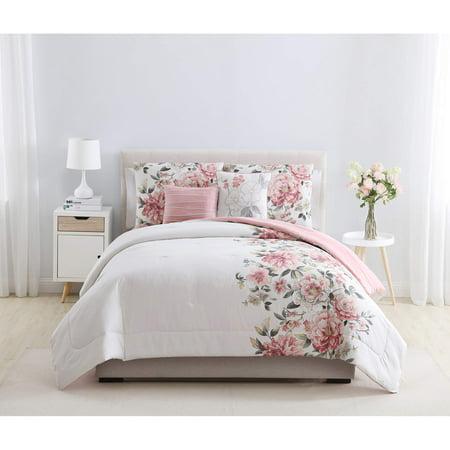Mainstays pink floral shearwater 5 piece bedding comforter set mainstays pink floral shearwater 5 piece bedding comforter set decorative pillows included mightylinksfo