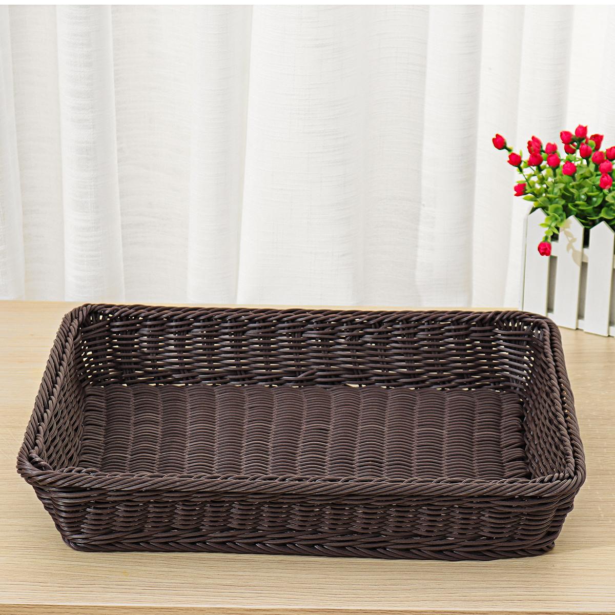 Rattan Storage Basket Handmade Vegetable Fruit Bread Food Snacks Organizer Box