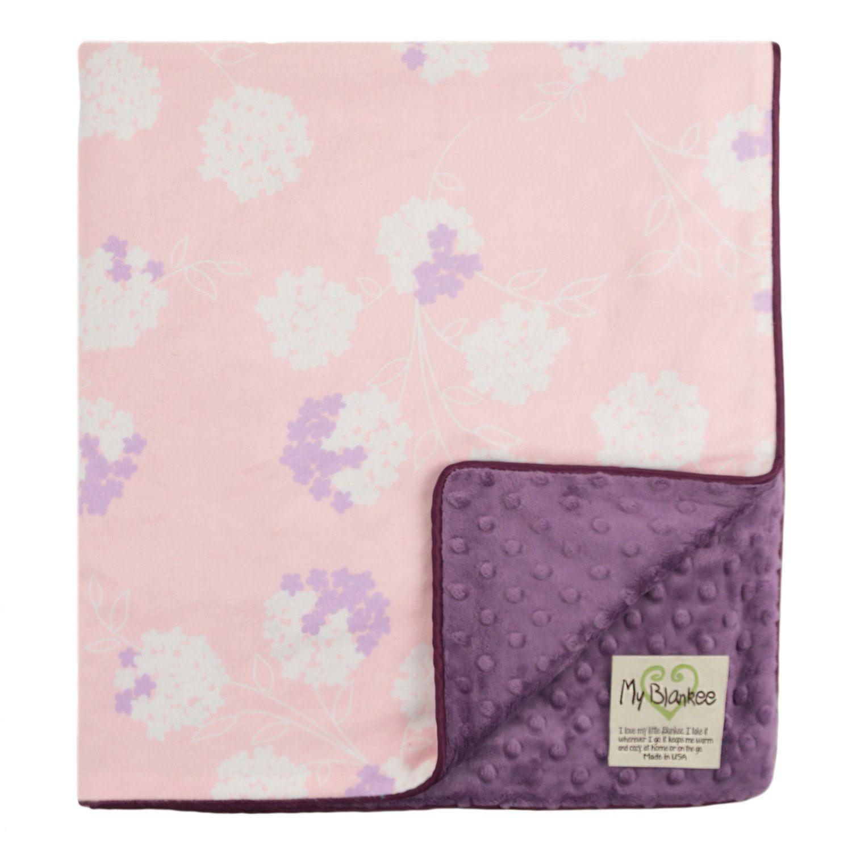 My Blankee Garden Organic Cotton Pastel w/ Minky Dot Violet Baby Blanket, 30' X 35'