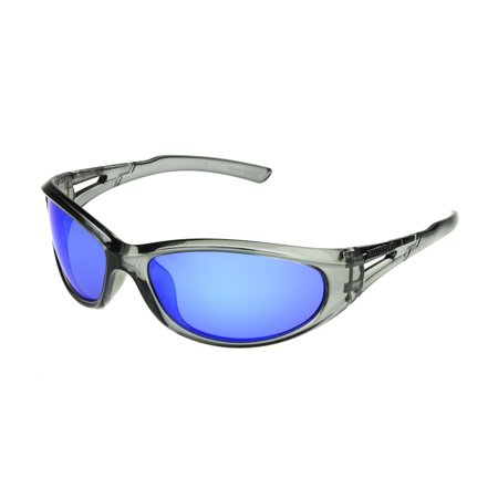 Foster Grant Men's Black Polarized Mirrored Wrap Sunglasses
